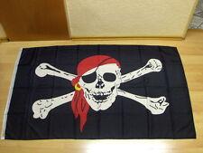 Fahnen Flagge Pirat Totenkopf Tuch Rotes Sonderposten - 90 x 150 cm