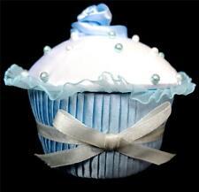 HANDMADE DECORATED CUPCAKE TRINKET BOX.PALE BLUE & WHITE. BOXED