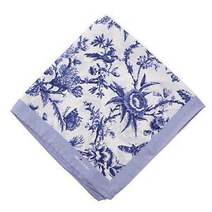 Kiton Napoli Navy Blue Victorian Floral Print Silk Pocket Square