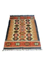 5x7 Traditional Handmade Carpet Vintage Wool Multicolor Striped Kilim Area Rug
