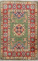 Classic Vegetable Dye Green Super Kazak Oriental Area Rug Wool Hand-Knotted 2x3