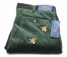 Polo Ralph Lauren 4860069 Green Corduroy Pants w/Fox & Horn 33/32 NWT $145