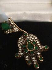 Rare Vintage 14ct Gold Emerald And CZ Anatolian Ottoman Hands Hand Pendant