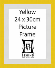Handmade Yellow Wooden Picture Frame With Mount - 24 x 30cm