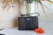 NWT Coach Zip Wristlet F58035 In Signature Coated Canvas W/ Leather Strap $75