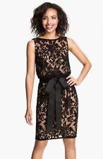 NWT Tadashi Shoji Bateau Neck Floral Lace Beleted Dress Black/Nude 14