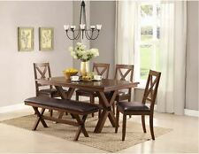 Rustic Dining Table with Bench 6 Piece Set Farm House Kitchen Chairs Farmhouse