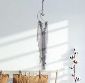 Moon Macrame Dream Catcher Wall Hanging Tapestry Woven Nursery Tassel 107cm Long