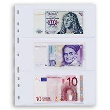 10 feuilles OPTIMA  3 compartiments  transparent pour billets ref 317839