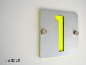 Modern House Numbers, One Number Square Alucobond with Neon Yellow Acrylic Sign