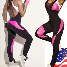 Fashion Womens Sports Yoga Jumpsuit Running Fitness Workout Gym Tights Pants M