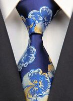 New GZ071 Navy Yellow Floral Classic JACQUARD Woven 100%Silk Mens Tie Necktie