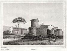 OSTIA ANTICA: ROCCA. Comarca di Roma.Stato Pontificio.ACCIAIO.Stampa Antica.1838