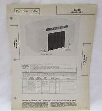 Vintage Photofact Folder Garod Model 5A2 Radio Parts Manual