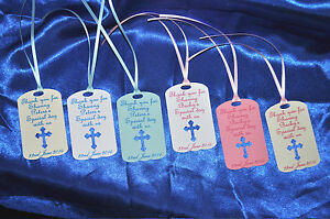 30 personalised christening tags hand made diecut 4 colours