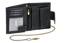 Bikerbörse Geldbörse Kette Außenverschluss LEAS MCL Vintage Echt-Leder schwarz