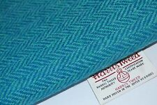 Harris Tweed Fabric & labels TURQUOISE HERRINGBONE craft upholstery quilting sew