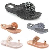 Ladies Womens Flip Flops Beach Summer Toe Post Diamante Flower Sandals Shoes New