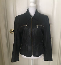 Adler Authentic Black Lambskin Leather Moto Jacket Womens Medium