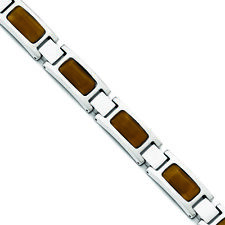 """Chisel Stainless Steel Polished with Tiger's Eye 8.5in Bracelet 8.5"""""""