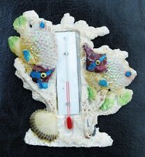 FRIDGE MAGNET 3D SOUVENIR GLISTENING TROPICAL FISH SWIMMING IN CORAL THERMOMETER