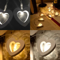 1.2M 10 LED Wood Heart String Fairy Lights Lamp Xmas Wedding Party Outdoor Decor
