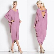 Womens Ladies Backless LONG SLEEVE Cocktail Backless Midi Dress Maternity 8-26