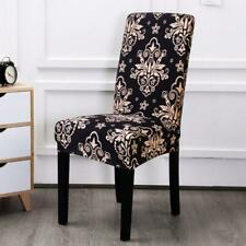 Black Floral Motif Pattern Dining Chair Cover Slipcover