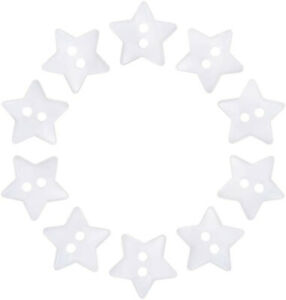 1000 Pcs Acrylic Star Buttons 2 Holes Sewing Buttons Dyed White Knitting Buttons
