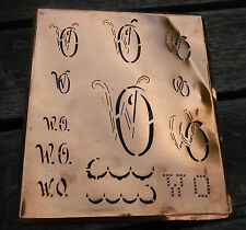 """Monogramm """" WO """" Wäschemonogramm Wäscheschablone Wäschezeichen 11/13 cm KUPFER"""