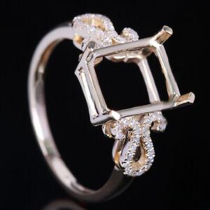 Diamond Semi Mount Nice Ring 9x7mm Emerald 10K Yellow Gold Engagement Wedding