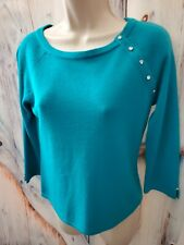 Requirements Sea Teal Top Embellished 3/4 Sleeve Knit Womans Petites S Sweater