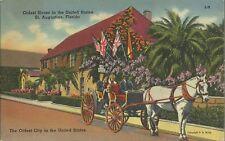 OLD VINTAGE OLDEST HOUSE IN THE U.S. IN ST. AUGUSTINE FLORIDA LINEN POSTCARD