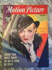 Motion Picture Magazine Dec 1932 Hollywood Movie Star Constance Bennett On Cover