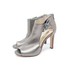 Louise et Cie Olivia Cutout Peep Toe Ankle Bootie Heels Metallic Iron Silver 4