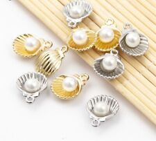 10 Pc's 15x12mm Silver Gold Alloy Sea Shell Charm Loose Beads for Jewelry Making