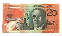 👀 1995 $20 Australian banknote CD95614272 - 273 Consecutive Gen Prefix Unc.