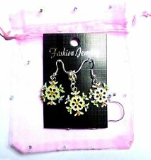 Christmas Charm Pendant Necklace & Earring Gift Rhinestone Frosted Snow Flake