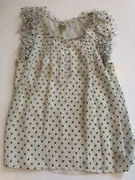 J Crew Collection Silk Blouse Polka Dot Ruffles Sheer Size 4 Short Sleeve Top