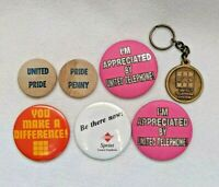 United Telephone System UTS Lot w/ Pinback Buttons & Keychain Vintage 1980s