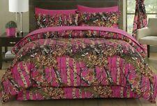 7 pc Hi Viz Hot Pink Camo Queen Comforter Sheets & Pillowcases