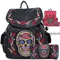 Sugar Skull Day of the Dead Rose Backpack Daypack Women School Bag Purse Wallet