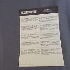 """699B 2 Feuilles """"Ancien Catalogue"""" Fleischmann Résistence Ralentissement 6954"""