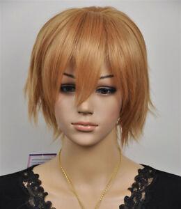 Fashion Light Brown Short Straight Women Girl Cosplay Hair Wig Wigs + Wig Cap