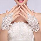 Women Lace Beaded Fingerless Short Paragraph Wrist Gloves Bridal Wedding Party