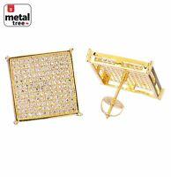 Men's Hip Hop 14k Gold Plated XL Square Flat Screen Screw Back Stud Earrings