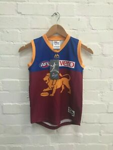 Brisbane Lions Majestic Aussie Rules Kid's Home Jersey - 10 Years - Blue - New