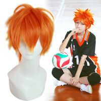 US Ship Haikyuu Hinata Syouyou Short Straight Bright Orange Cosplay Wig Hair