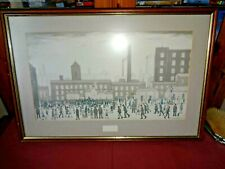 LS LOWRY PRINT OUTSIDE THE MILLS  FRAMED