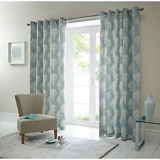 Fusion Woodland Trees Print 100 Cotton Eyelet Lined Curtains Duck Egg 66 X 54